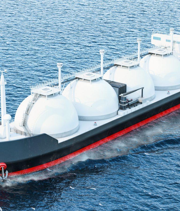 Gas,Tanker,Sailing,In,Ocean,,3d,Rendering